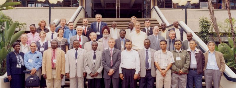 Group photo of GEFSOC team on the steps at The United Nations Offices in Nairobi (UNON)