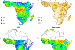 The new soil property maps provide estimations of soil properties such as pH, silt content, bulk density and cation-exchange capacity (CEC). In general, the higher the CEC, the higher the soil fertility.