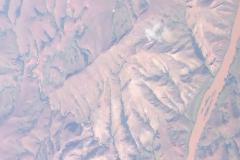 Dry and eroded landscape in western Madagascar seen from the air