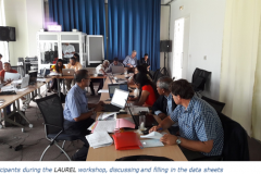 Participants during the LAUREL workshop, discussing and filling in the data sheets